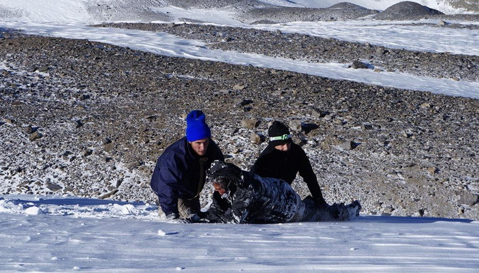 Nhóm leo núi của Linh đang cứu một người đàn ông may mắn sống sót