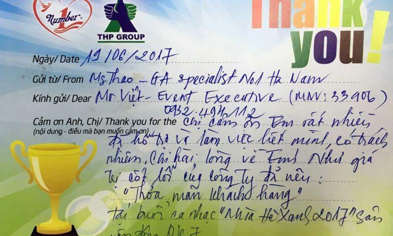 Thank you notes, nét văn hoá cảm ơn và phản hồi tại THP